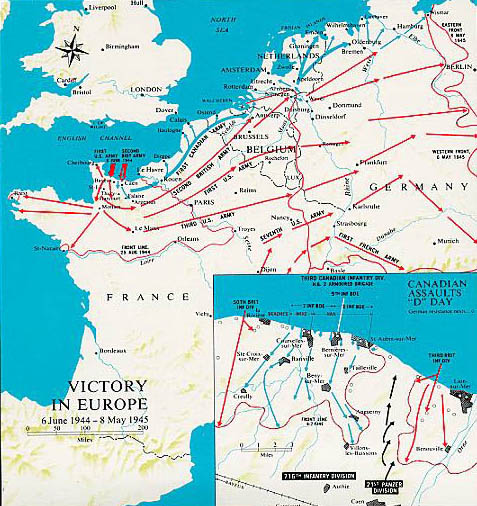 Map or Northwest Europe, more specifically France and Normandy highlight