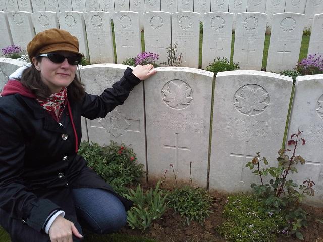 Sanna with Francois' grave